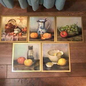 Vintage Henk Bos Fruit & Vegs Still Life Set of 5